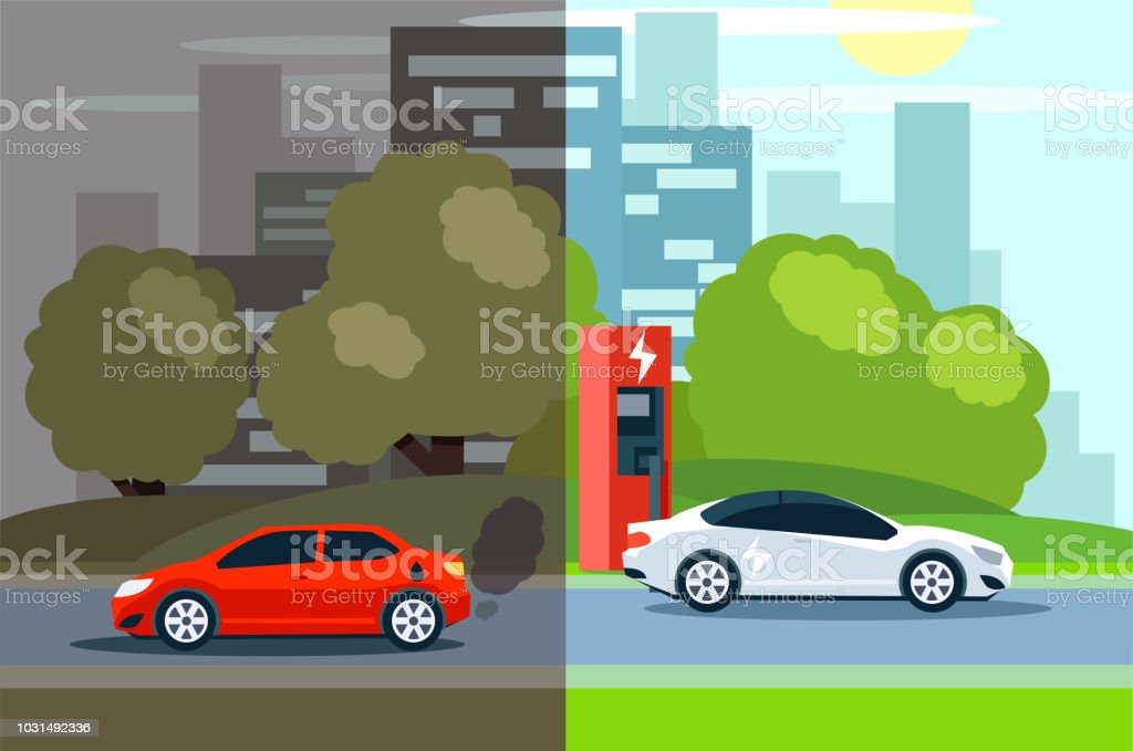 comparison between electric environmentally friendly and gas polluting car. vector art illustration