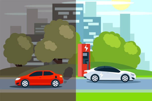 comparison between electric environmentally friendly and gas polluting car. Illustration of comparison between electric environmentally friendly and gas polluting car. hybrid vehicle stock illustrations