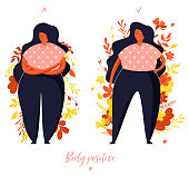 Comparison. Girl hesitates. Confident girl. Body positive illustration with plants in trendy flat style.