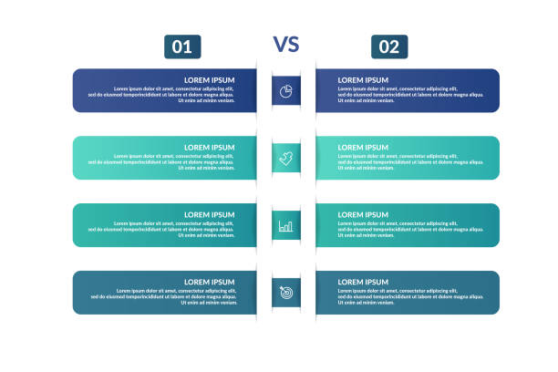 comparison infographic template design for business presentation - evaluation stock illustrations