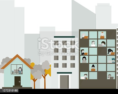 istock Comparison of working from home and working from office vector 1272315180