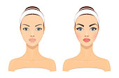 istock Comparison Portrait of a Young Beautiful Girl without and with Makeup on a White Background. Vector Illustration 1206121652