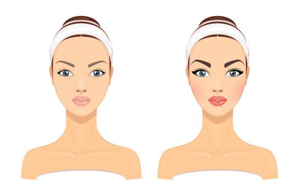 一個年輕的美麗女孩沒有和化妝在白色背景的比較肖像。向量插圖 - 美麗的人 幅插畫檔、美工圖案、卡通及圖標