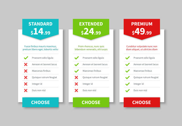 comparison pricing list. price plan table, product prices comparative tariff chart. business infographic option banner vector template - klawisz option stock illustrations