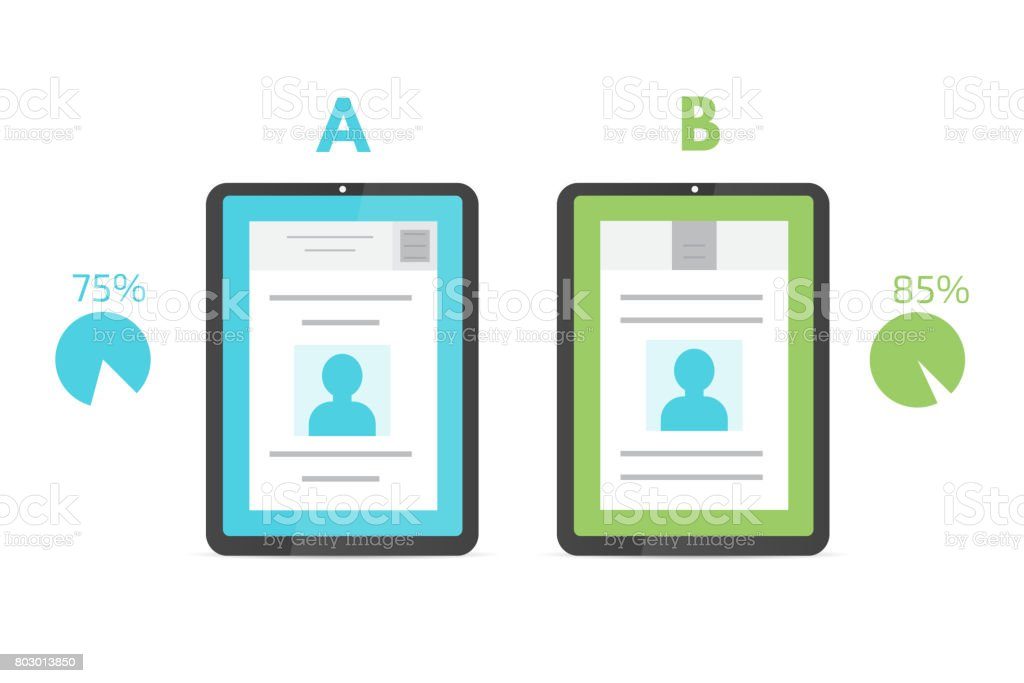 A-B comparison. Split testing. Concept with computer. Vector illustration. vector art illustration