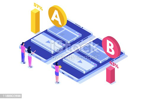 istock A-B comparison. Split testing isometric concept. Vector illustration. 1188802896