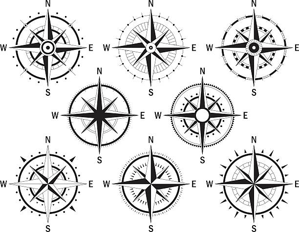 Compas set white Vector image set of variations of the mark Wind Rose. longitude stock illustrations