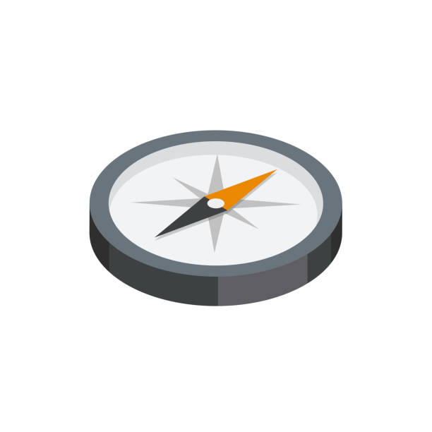 compass 3d isometric icon - compass stock illustrations