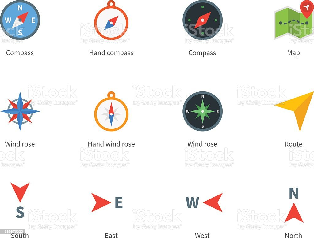 Compass and map colored icons on white background vector art illustration