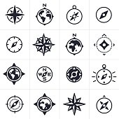 Compass and map navigation icons and symbols collection.