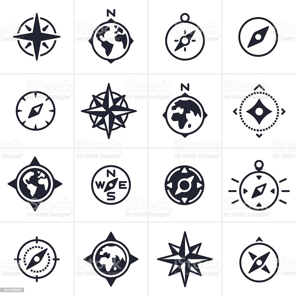 Compass and Map Navigation Icons and Symbols vector art illustration