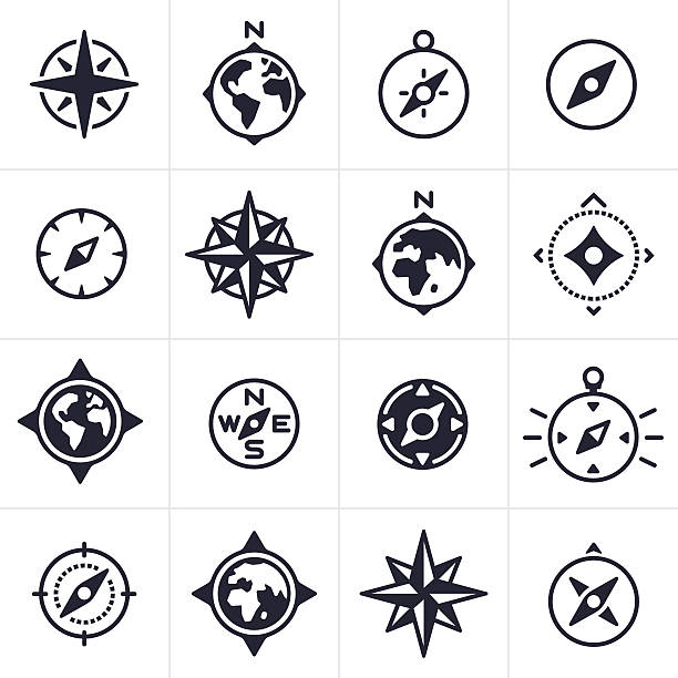 Compass and Map Navigation Icons and Symbols - Illustration vectorielle