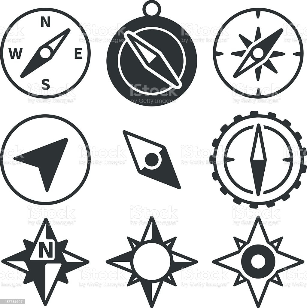 Compass and Navigation Icons vector art illustration
