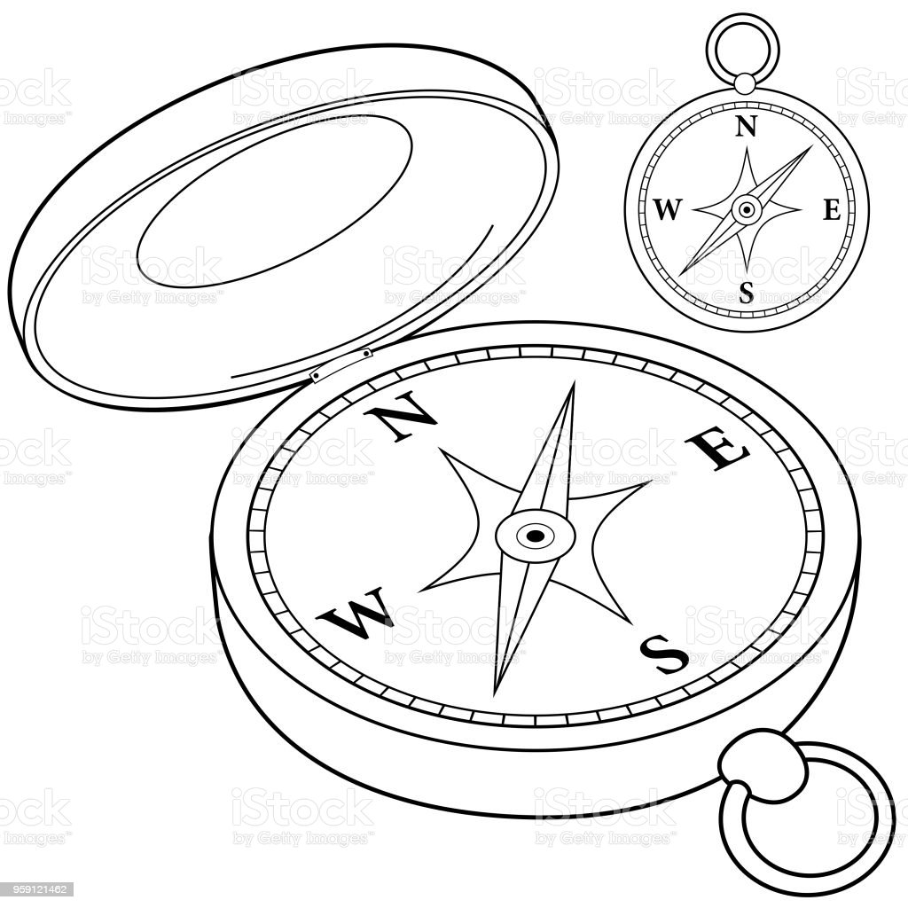 Compass Black And White Coloring Book Page Stock Vector Art & More ...