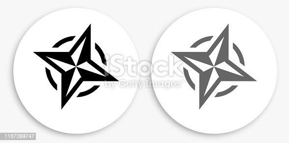 Compass Black and White Round Icon. This 100% royalty free vector illustration is featuring a round button with a drop shadow and the main icon is depicted in black and in grey for a roll-over effect.