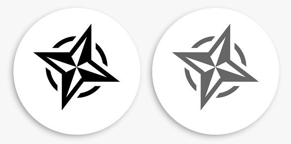 Compass Black and White Round Icon