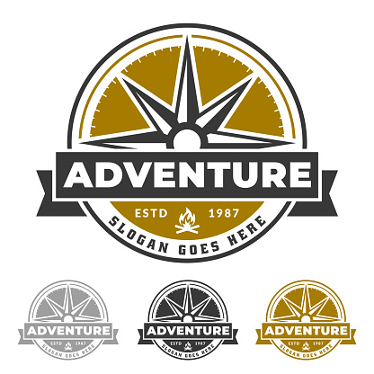 Compass emblem for adventure life, outdoor and explorer icon