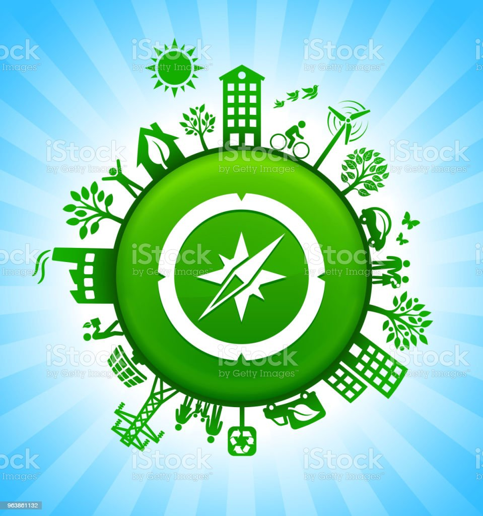 Compass Environment Green Button Background on Blue Sky - Royalty-free Adventure stock vector