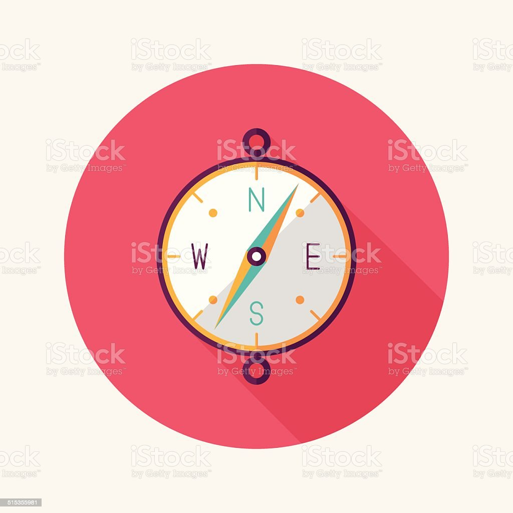 compass flat icon with long shadow vector art illustration