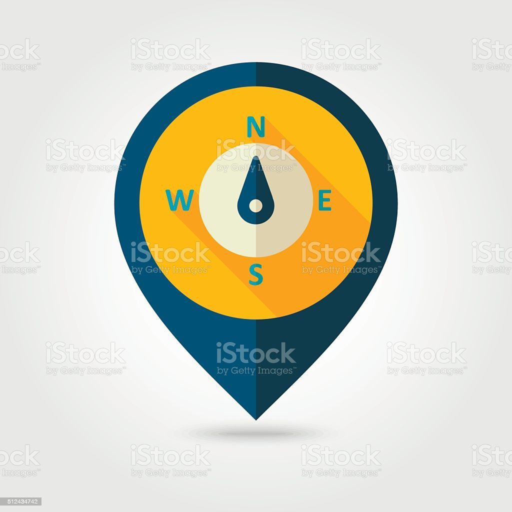 Compass flat pin map icon. Meteorology. Weather vector art illustration