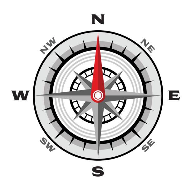 stockillustraties, clipart, cartoons en iconen met kompas platte vectorillustratie op een witte achtergrond - zuidoost