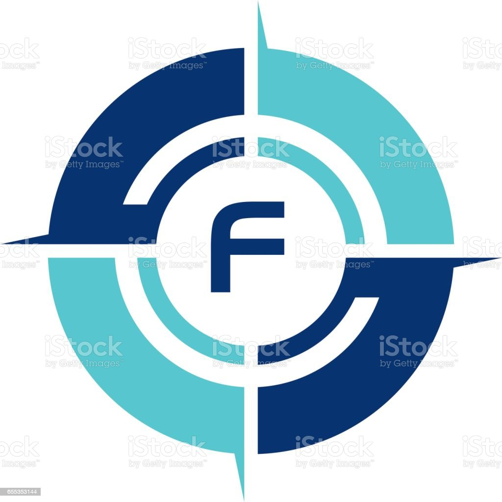 Compass Guide Solution Initial F vector art illustration