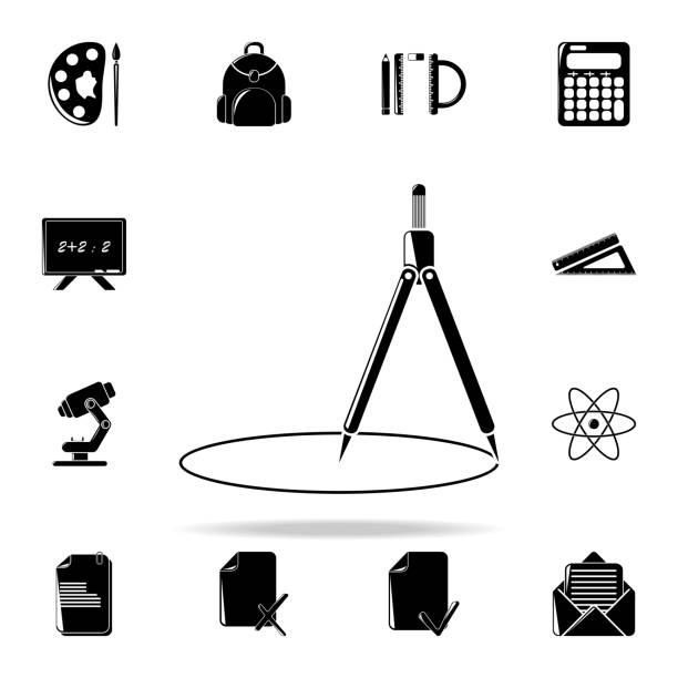 ilustrações, clipart, desenhos animados e ícones de ícone de bússola. conjunto de ícones de educação universais para web e mobile - orientador escolar