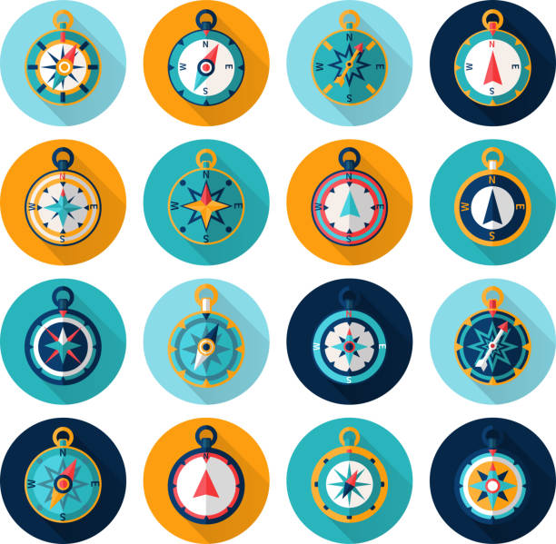 compass icon flat Compass marine orientation navigational instrument icon flat set isolated vector illustration longitude stock illustrations