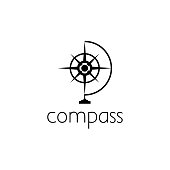 compass icon graphic design concept. Editable compass element, can be used as icontype, icon, template in web and print
