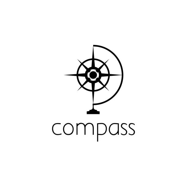 compass icon graphic design concept - compass stock illustrations, clip art, cartoons, & icons