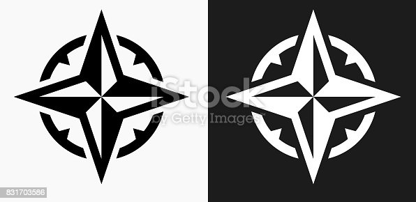 istock Compass Icon on Black and White Vector Backgrounds 831703586
