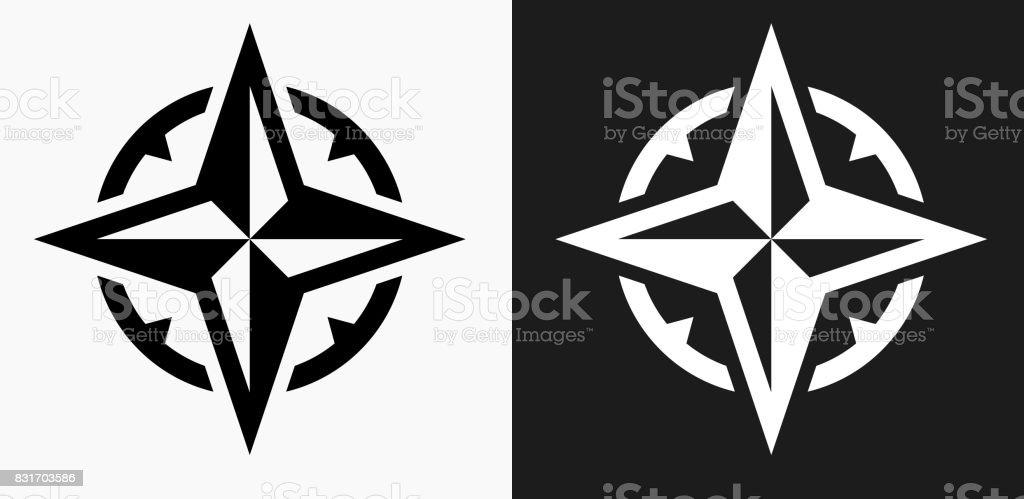 Ícone de bússola em preto e branco Vector Backgrounds - ilustração de arte em vetor