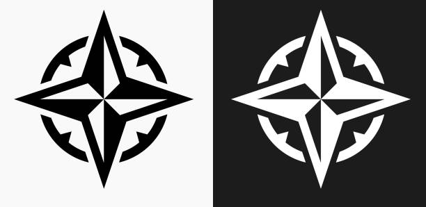 compass icon on black and white vector backgrounds - compass stock illustrations, clip art, cartoons, & icons