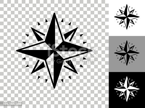 istock Compass Icon on Checkerboard Transparent Background 1247537355