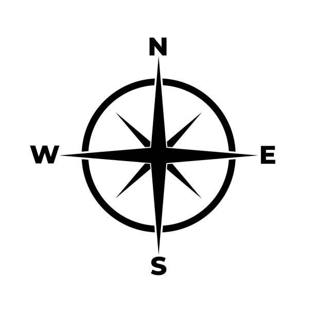 compass icon on white background - compass stock illustrations