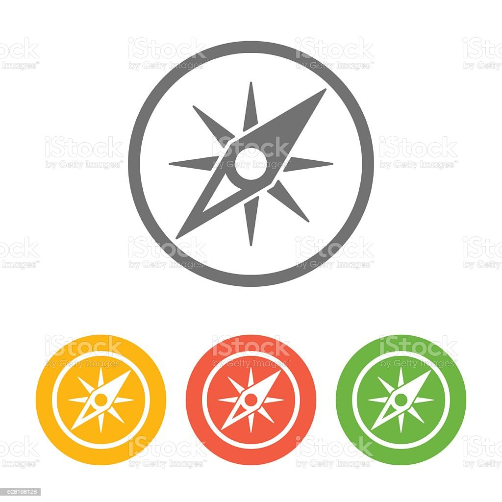 Compass Icon Set vector art illustration
