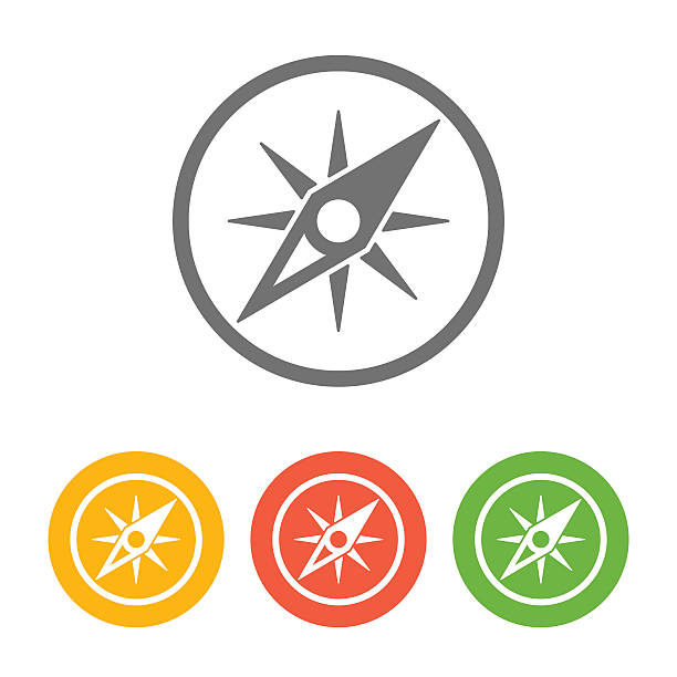 compass icon set - compass stock illustrations