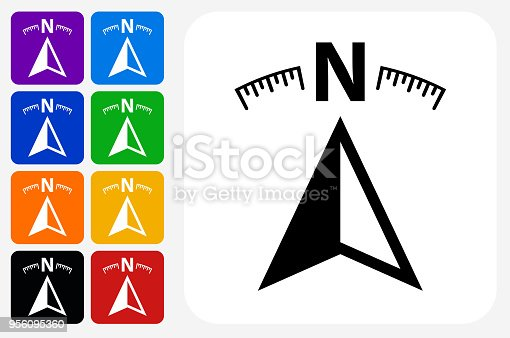 Compass Icon Square Button Set. The icon is in black on a white square with rounded corners. The are eight alternative button options on the left in purple, blue, navy, green, orange, yellow, black and red colors. The icon is in white against these vibrant backgrounds. The illustration is flat and will work well both online and in print.