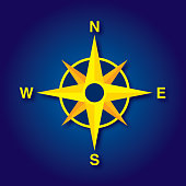Vector illustration of a yellow compass icon against a blue background.