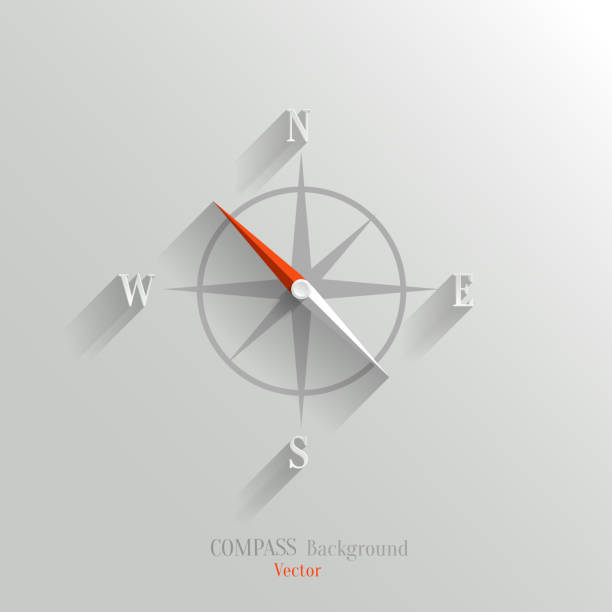 Compass icon Abstract vector compass icon with shadow in flat style guide stock illustrations