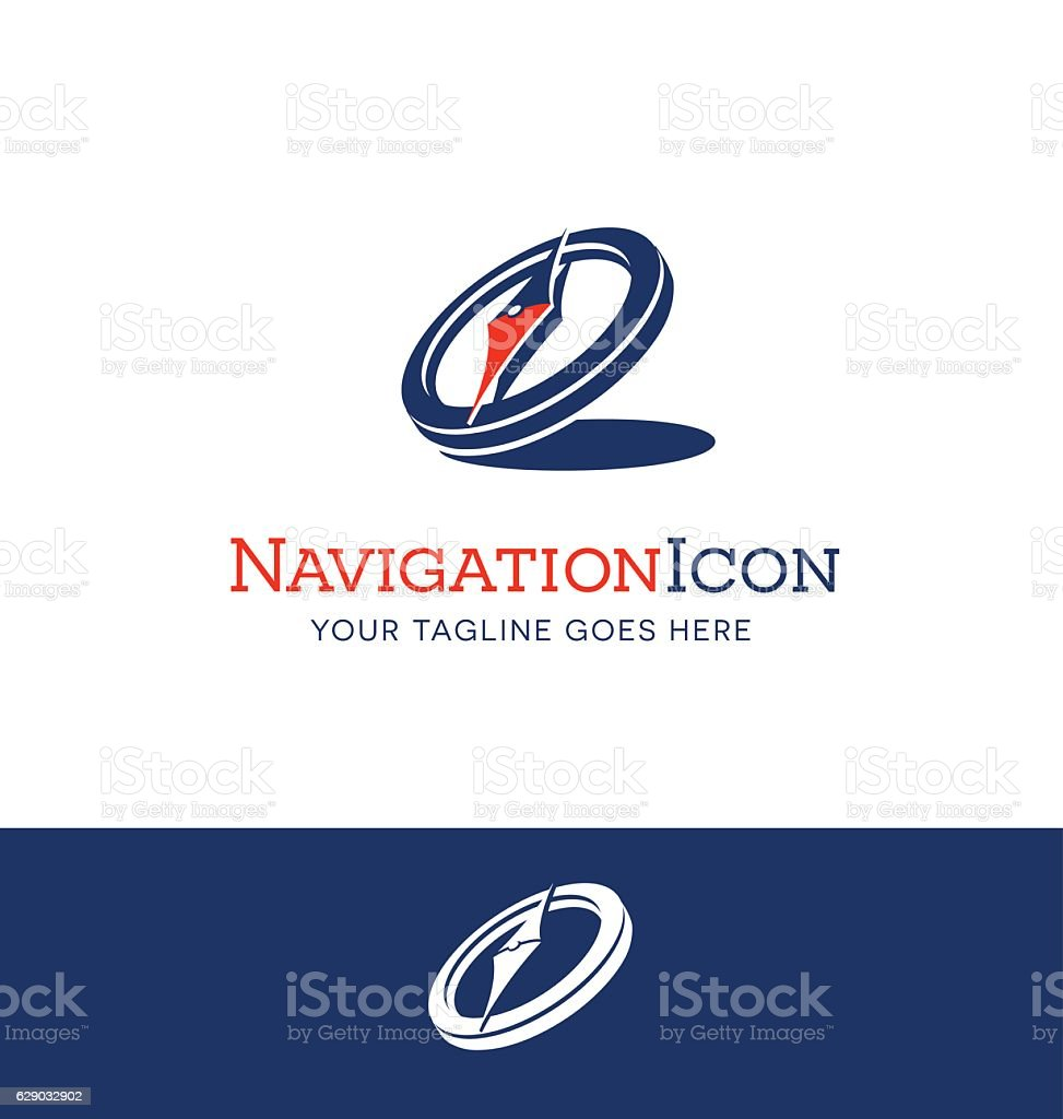 compass icon with shadow in navy blue and red vector art illustration