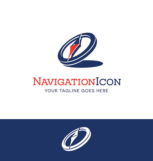 compass icon with shadow in navy blue and red - compass stock illustrations, clip art, cartoons, & icons