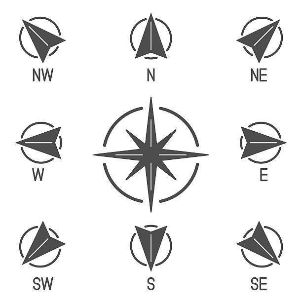 Compass Icons Collection Compass icons with different directions. Set of 9 solid vector icons north stock illustrations