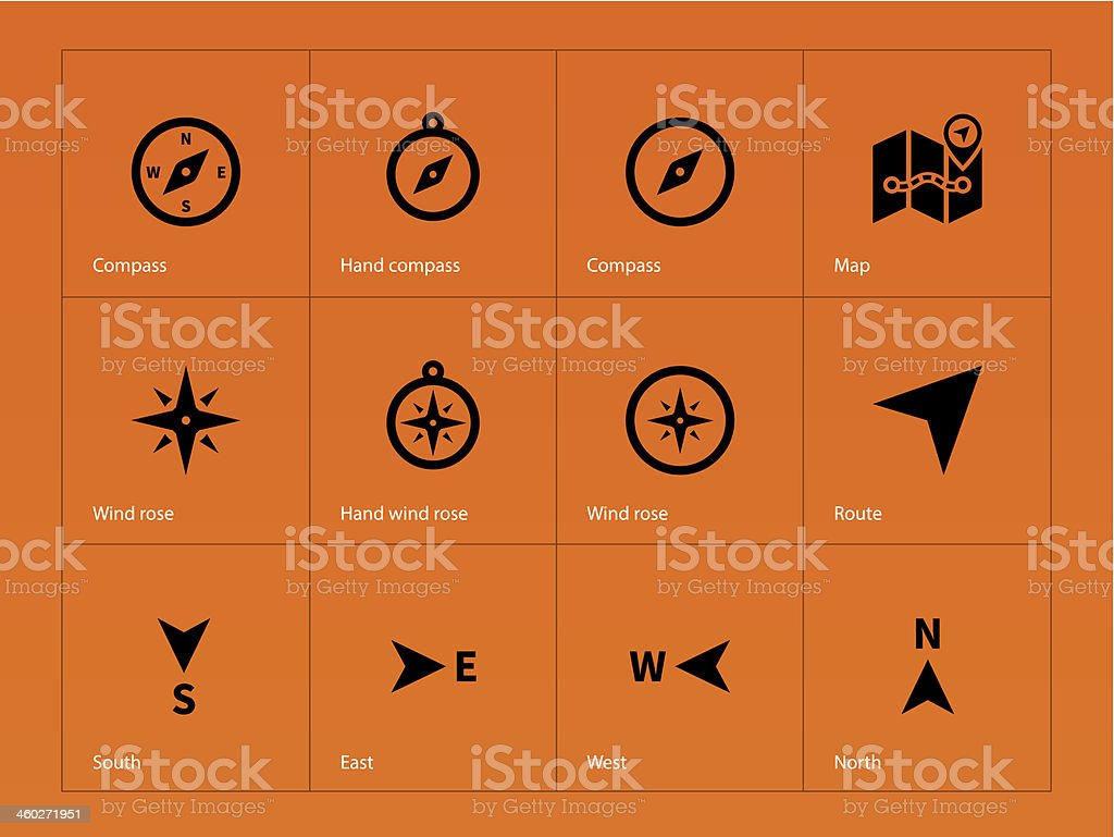 Compass icons on orange background. vector art illustration