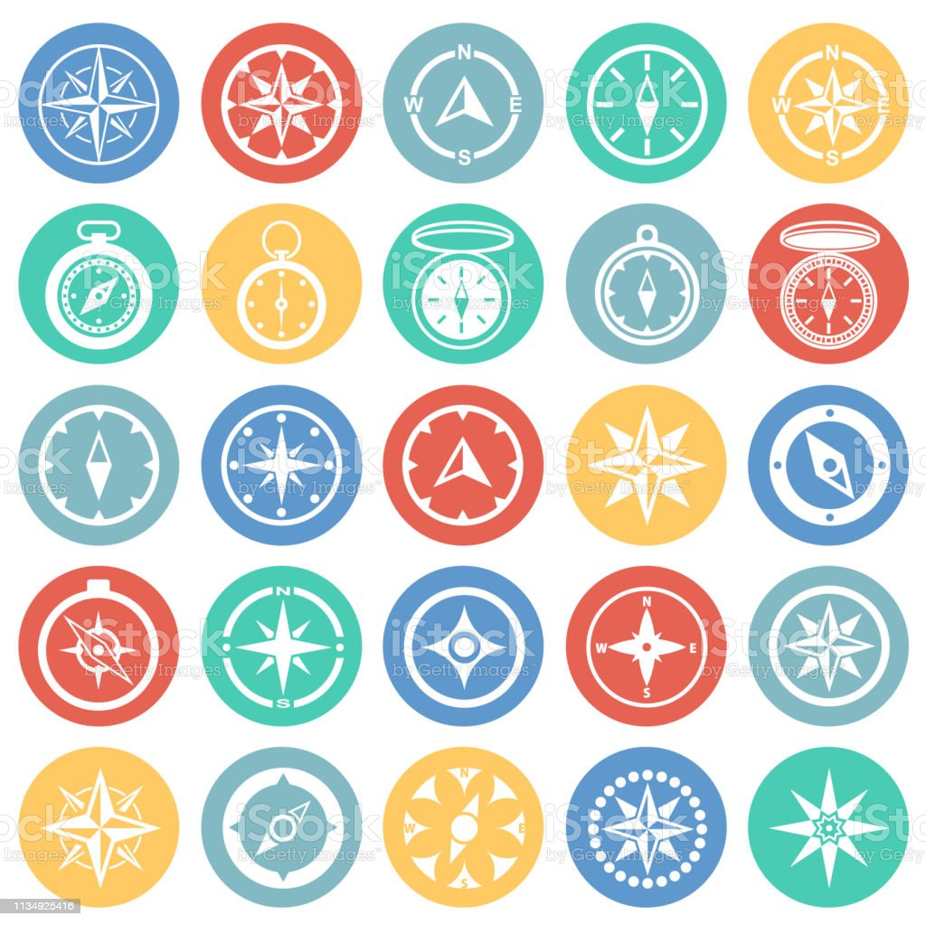 Compass Icons Set On Color Circles Background For Graphic