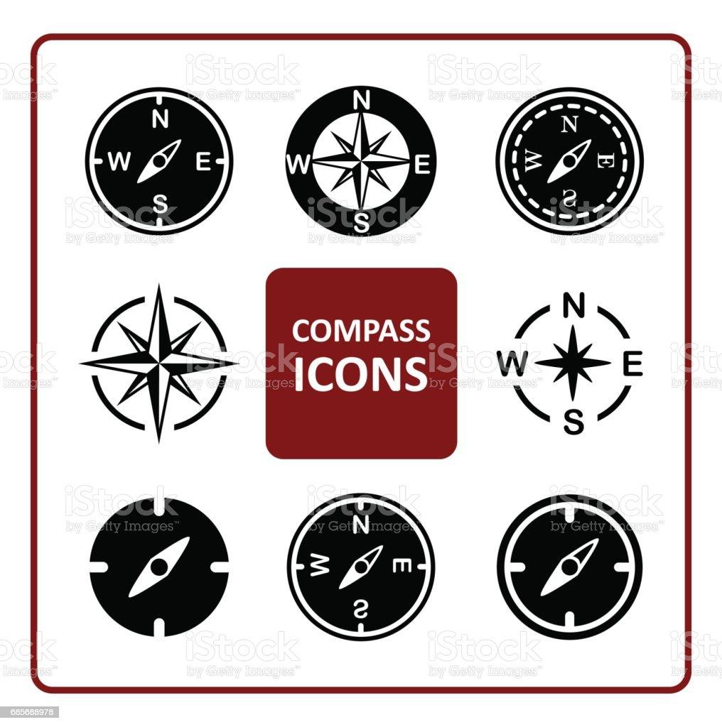 コンパスのアイコンを設定します。 ロイヤリティフリーコンパスのアイコンを設定します - アイコンのベクターアート素材や画像を多数ご用意