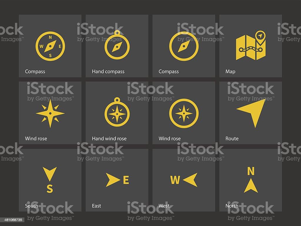 Compass icons. vector art illustration