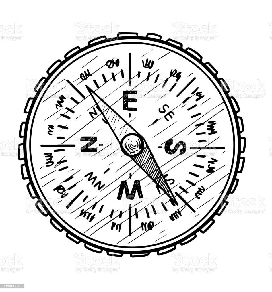 Compass illustration, drawing, engraving, ink, line art, vector royalty-free compass illustration drawing engraving ink line art vector stock vector art & more images of arrow symbol