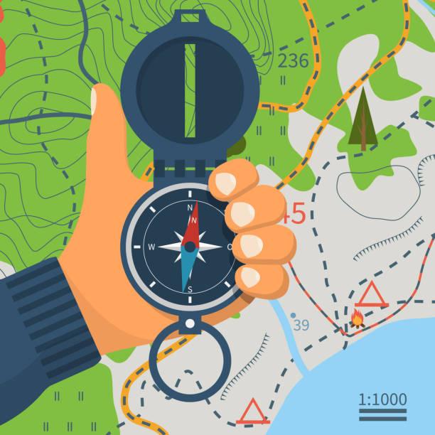 kompass in der hand. magnetische navigationsgerät - forschungsurlaub stock-grafiken, -clipart, -cartoons und -symbole