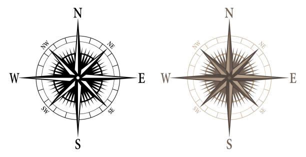 stockillustraties, clipart, cartoons en iconen met kompas, geïsoleerde vector illustratie in zowel zwarte als kleuren versies - oost
